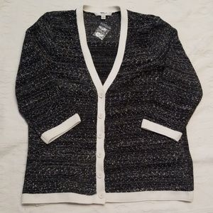 Liz Claiborne Large black white speckled sweater